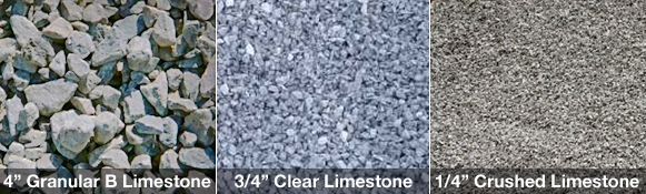 Types of crushed limestone gravel